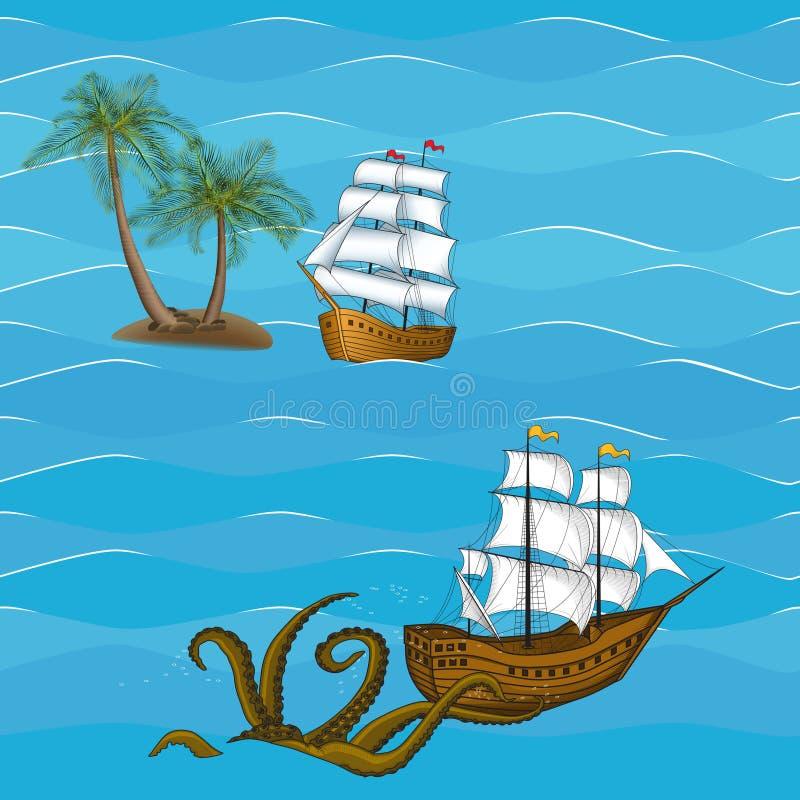 Sömlöst skepp för bildtappningsegling stock illustrationer