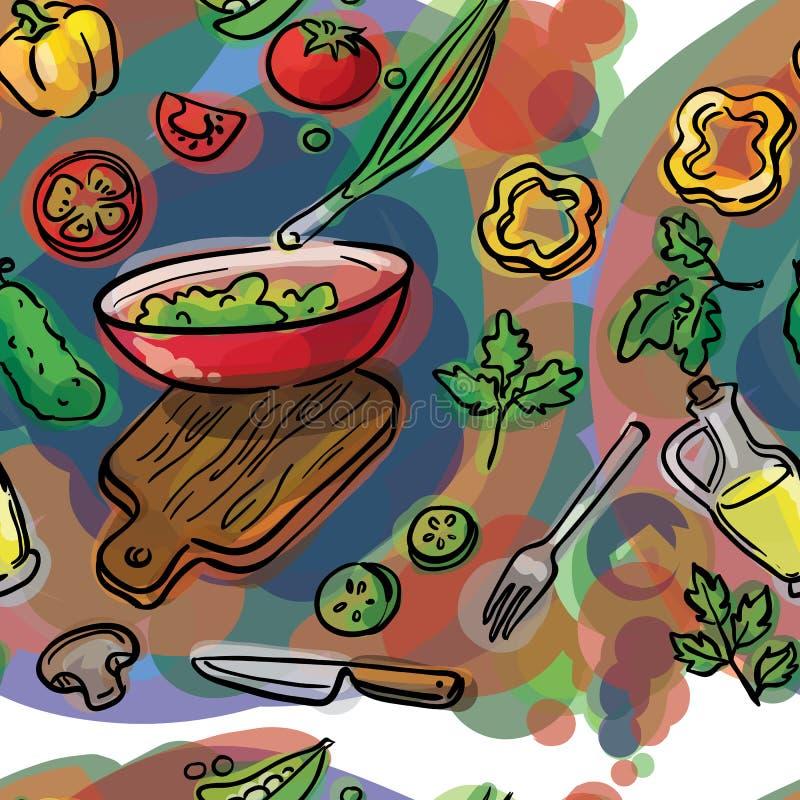Sömlöst skissa av ingredienser för sallad stock illustrationer