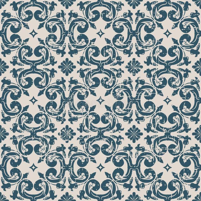 Sömlöst slitet ut antikt för spiralblomma för bakgrund 215_round kors royaltyfri illustrationer
