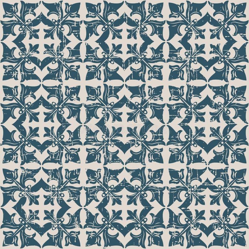 Sömlöst slitet ut antikt för vinrankafyrkant för bakgrund 119_flower kors stock illustrationer