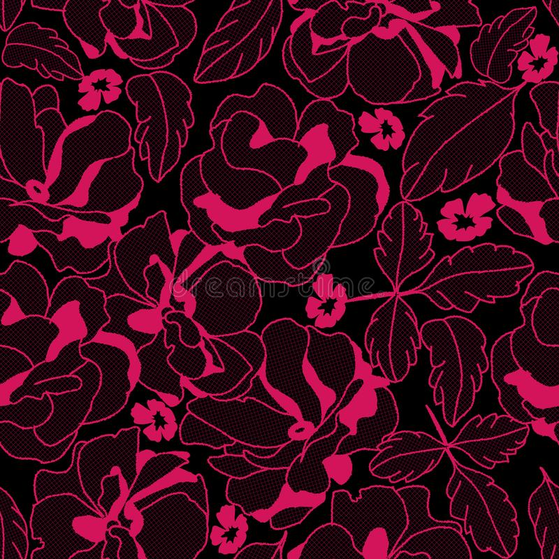 Sömlöst snöra åt rosa färgmodellen med blommor för damunderkläder och dana att bära stock illustrationer