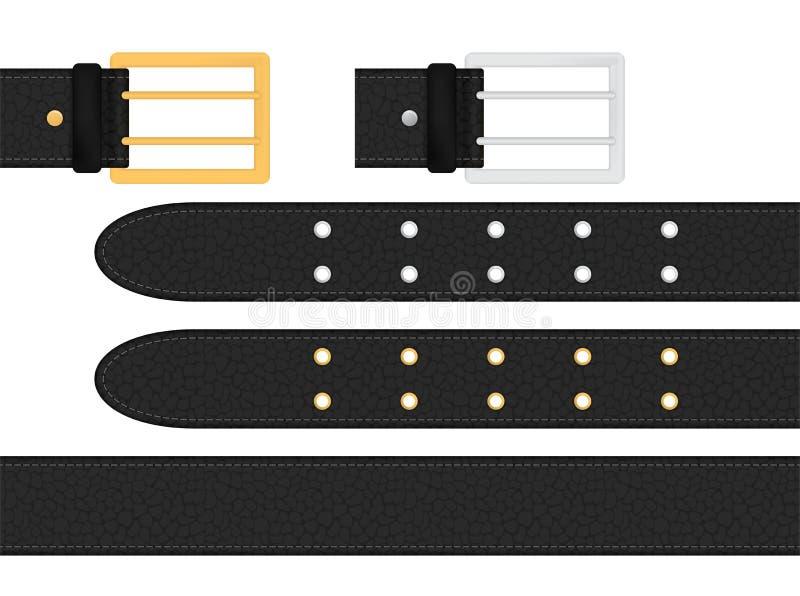 Sömlöst svart läderbälte med metallisk silver och den guld- bucklan Isolerad vektorillustration stock illustrationer