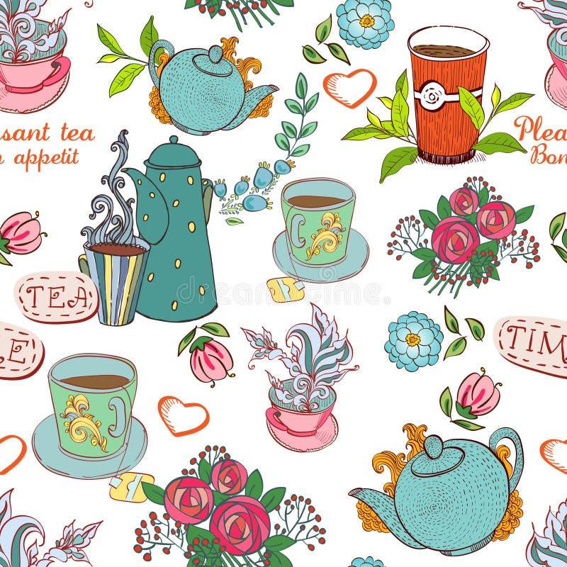 Sömlöst te stock illustrationer