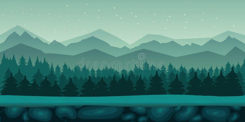 Sömlöst tecknad filmnaturlandskap med den 2d modiga applikationen royaltyfri illustrationer