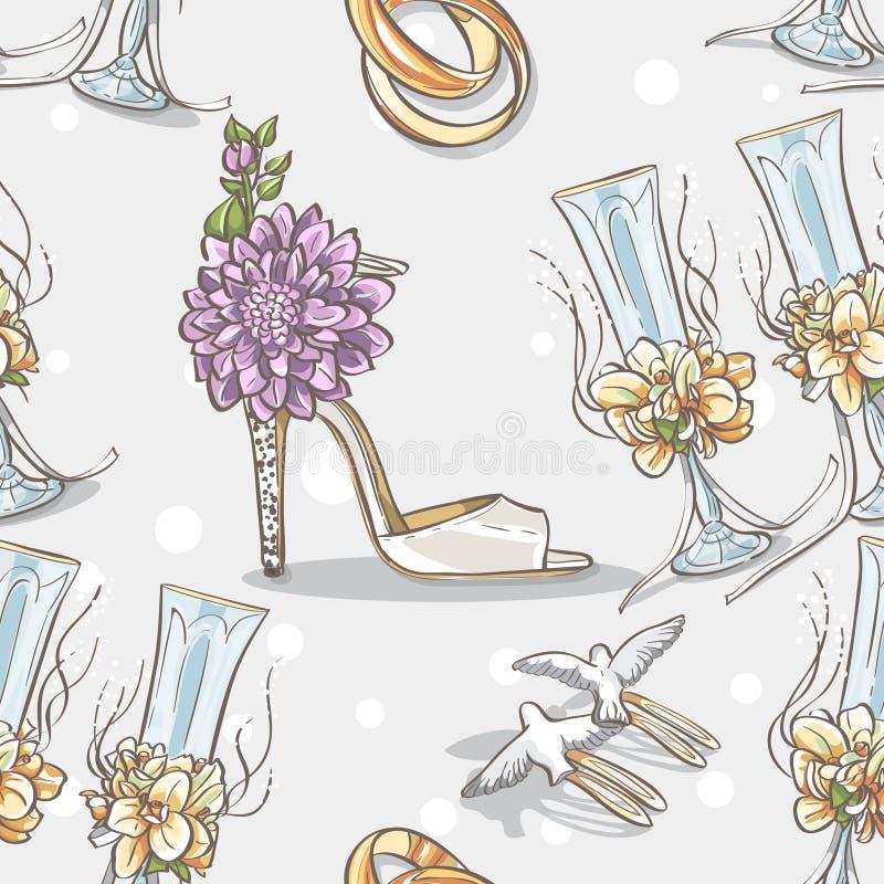 Sömlöst texturbröllop med vigselringar, exponeringsglas och skobruden stock illustrationer