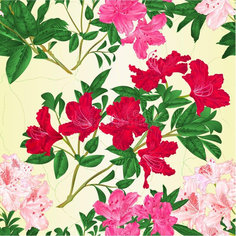 Sömlöst texturfilialljus - rosa rosa färg och redigerbar röd illustration för vektor för tappning för buske för blommarhododendro royaltyfri illustrationer