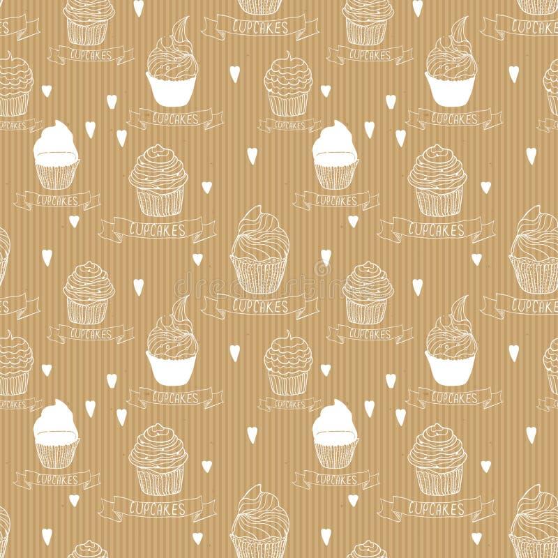 Sömlöst texturKraft papper med muffin royaltyfri illustrationer