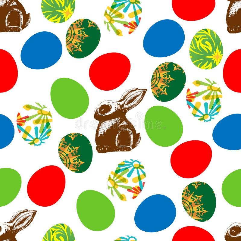Sömlöst tryck av den chokladharen och påsken stock illustrationer