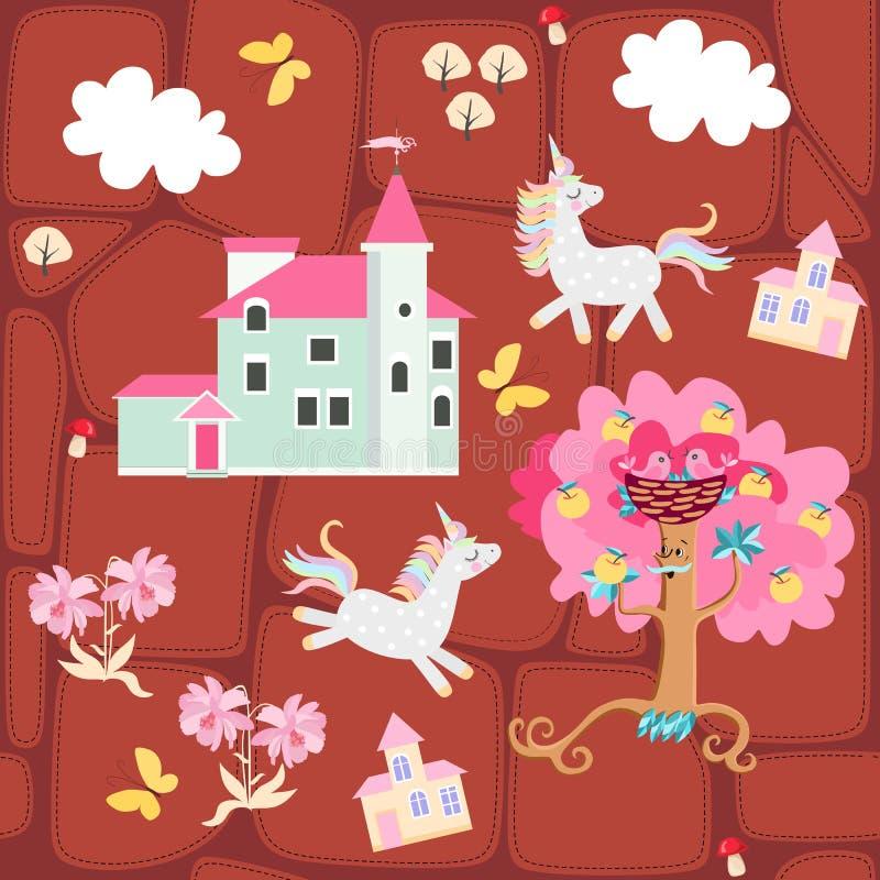 Sömlöst tryck för tyg eller tapet för barn Patchworkbakgrund med slotten, enhörningar, fjärilar, äppleträdet och moln vektor illustrationer
