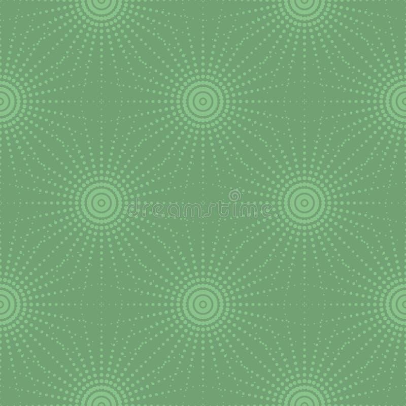 Sömlöst tryck med halva Tone Dotted Suns eller stjärnor vektor illustrationer