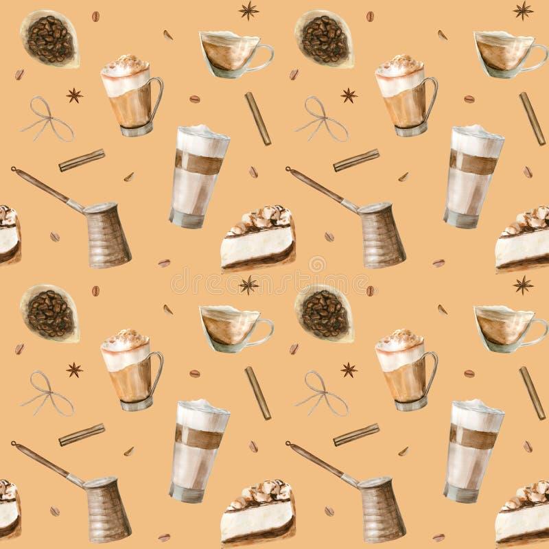 Sömlöst vattenfärgsmönster med illustrationer av kaffekopp, kaffebönor, kaffekvarn, cappuccino, latte och desserter stock illustrationer