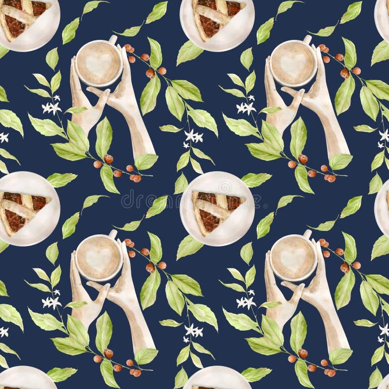 Sömlöst vattenfärgsmönster med illustrationer av kaffekopp, kaffebönor, kaffekvarn, cappuccino, latte och desserter royaltyfri illustrationer
