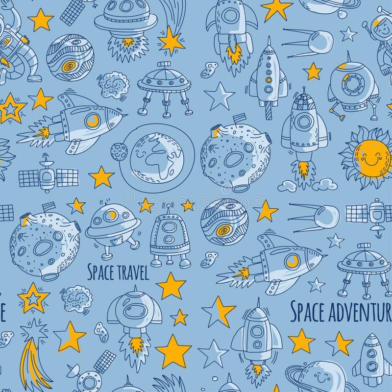 Sömlöst vektormodellutrymme, satellit, måne, stjärnor, rymdskepp, symboler för klotter för rymdstationutrymme hand drog och vektor illustrationer