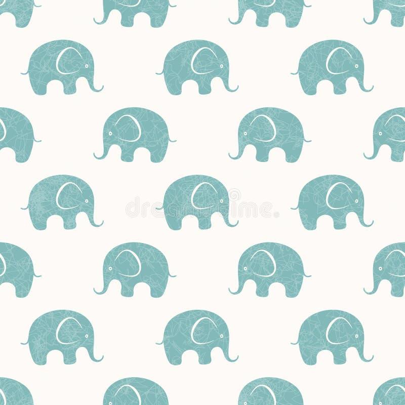 Sömlöst vektortryck med gulliga små elefanter stock illustrationer