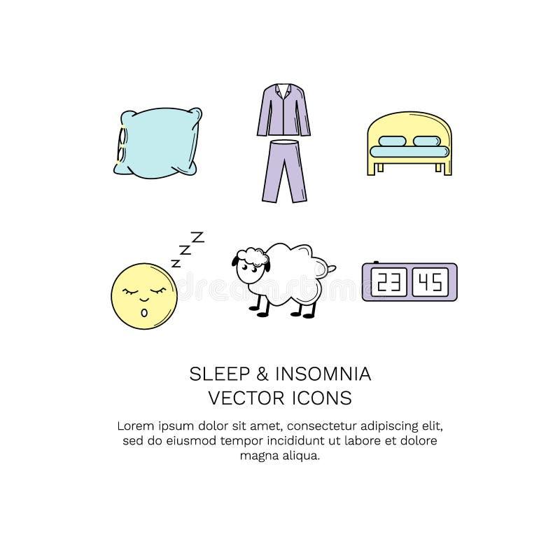 Sömn och sömnlöshet för vektorsymbolssamling vektor illustrationer