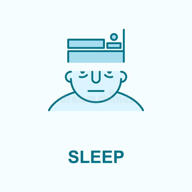 sömn på symbol för meningsfältöversikt stock illustrationer