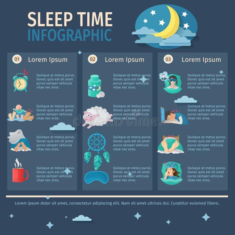 Sömn Tid Infographics stock illustrationer