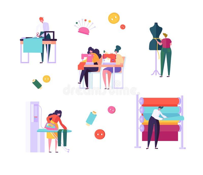 Sömnaden beklär teckenfolkuppsättningen Kvinnaarbete på sömmerskan Knitting Machine som stryker tyg i idérik Atelier vektor illustrationer