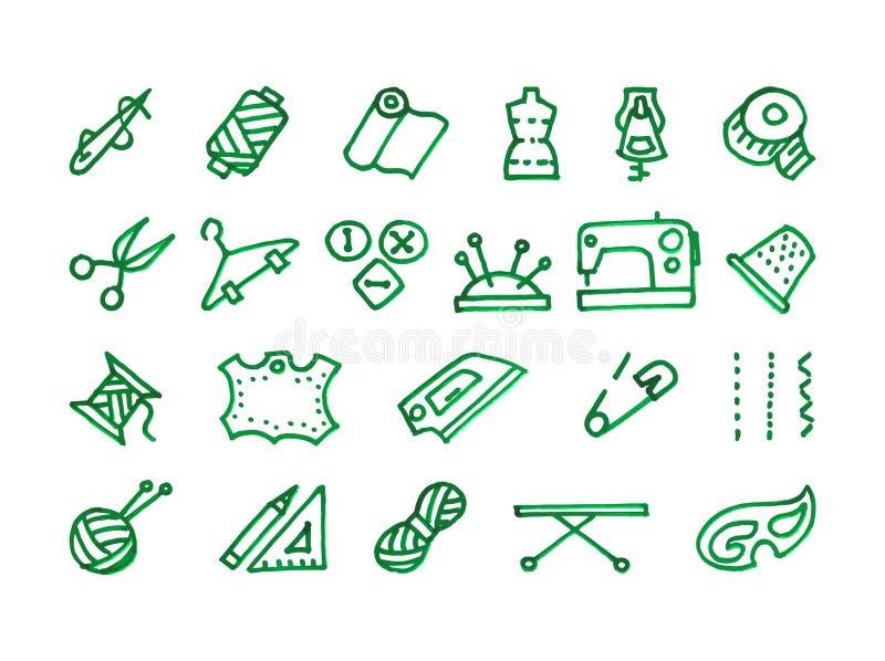 Sömnadsymbolsuppsättning royaltyfri illustrationer