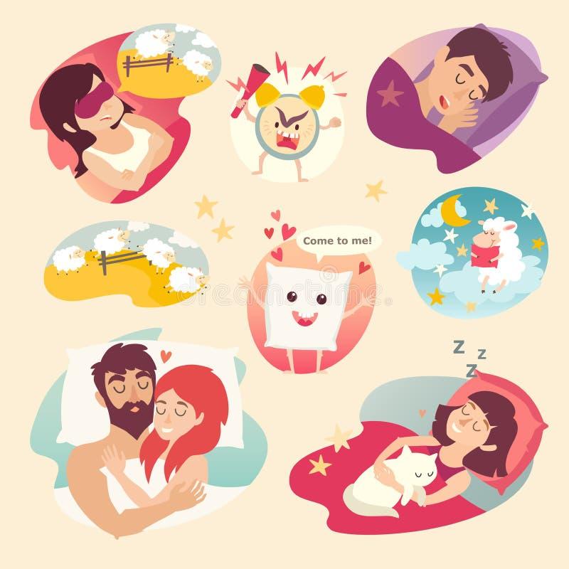 Sömndesignbegrepp Tecknad filmringklocka, sömnlöshet, kudde och att sova pojken och flickan vektor illustrationer