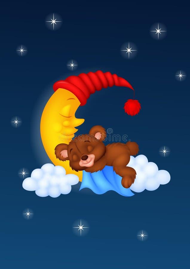Sömnen för tecknad film för nallebjörn på månen royaltyfri illustrationer