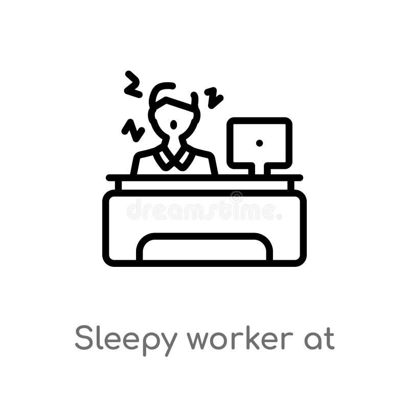 sömnig arbetare för översikt på arbetsvektorsymbolen isolerad svart enkel linje beståndsdelillustration från affärsidé Redigerbar vektor illustrationer