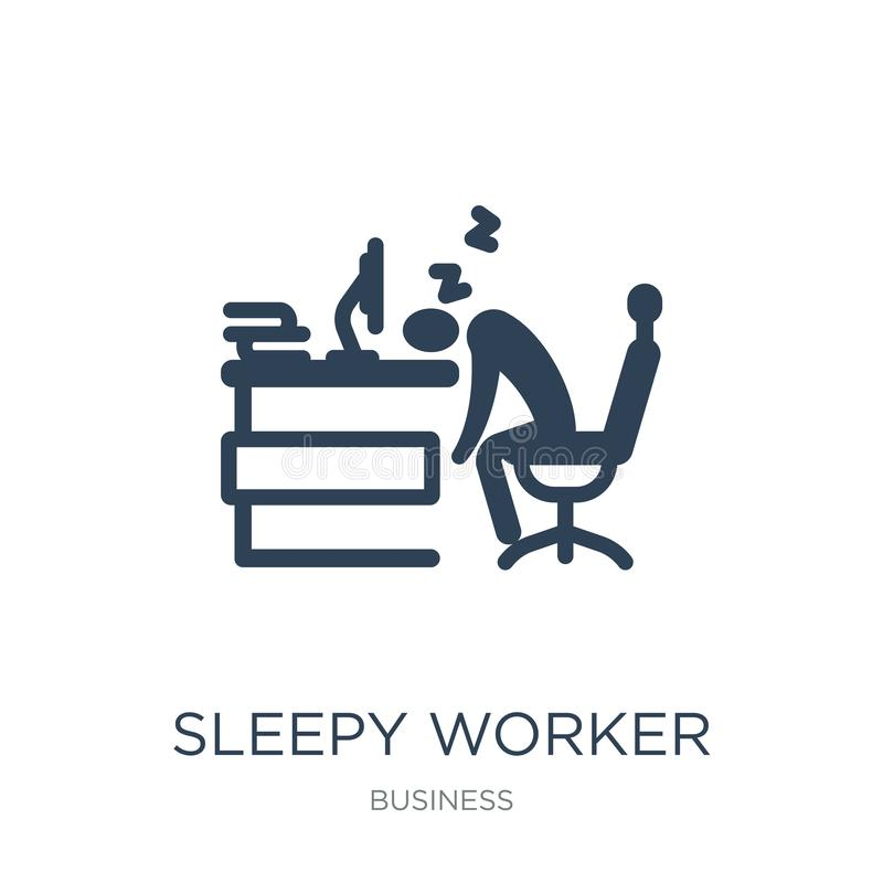sömnig arbetare på arbetssymbolen i moderiktig designstil sömnig arbetare på arbetssymbolen som isoleras på vit bakgrund sömnig a stock illustrationer