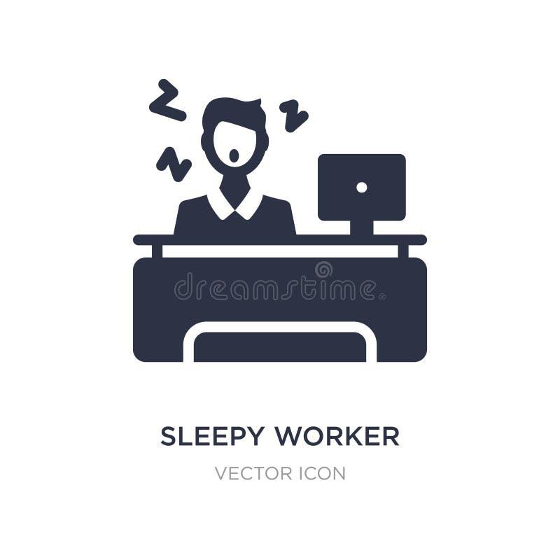 sömnig arbetare på arbetssymbolen på vit bakgrund Enkel beståndsdelillustration från affärsidé stock illustrationer