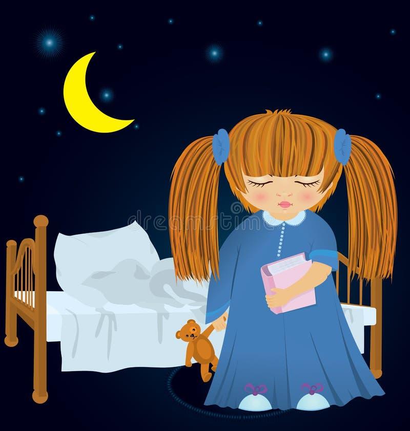 Sömnig flicka för tecknad film nära underlagvektor vektor illustrationer