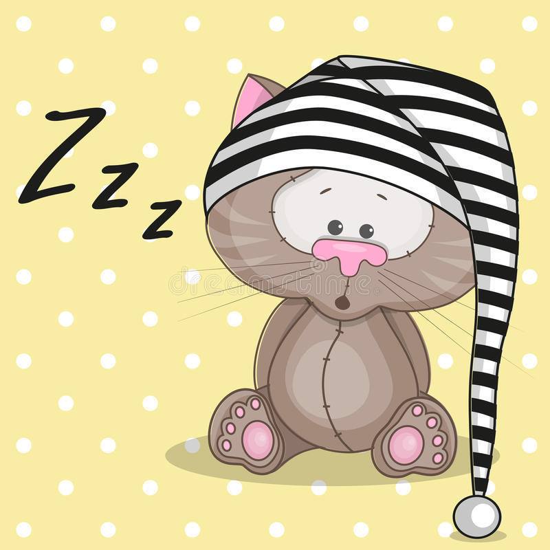 Sömnig katt vektor illustrationer