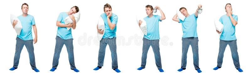 sömnig man för 6 stående i rad med en kudde på en vit fotografering för bildbyråer