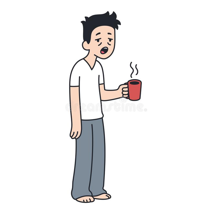 Sömnig man med koppen kaffe royaltyfri illustrationer