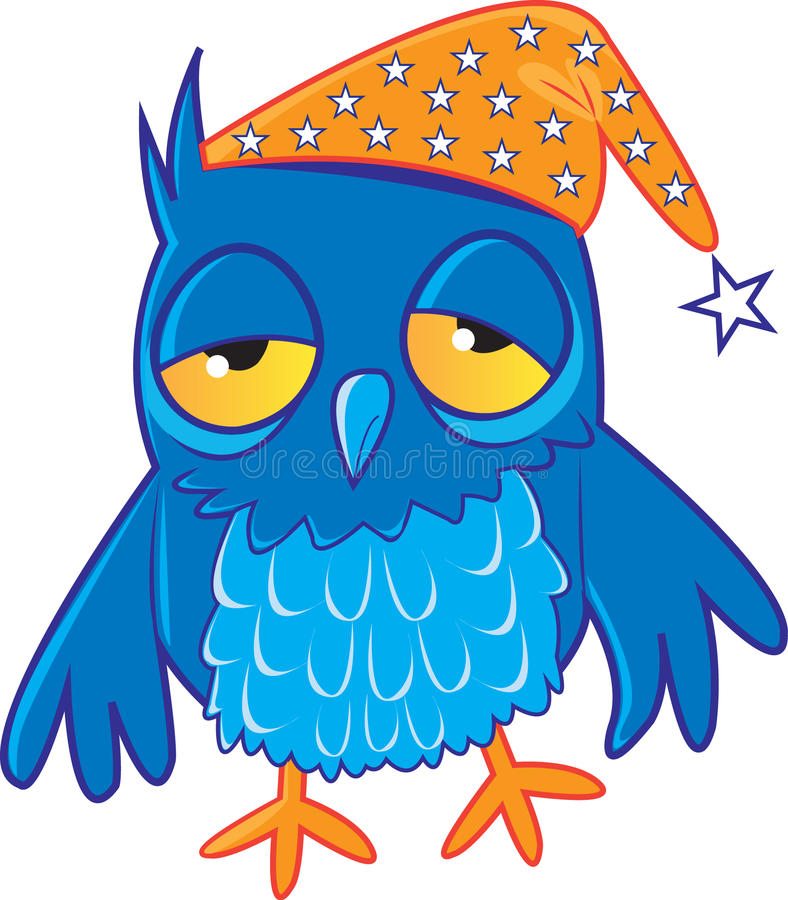 sömnig owl royaltyfri illustrationer
