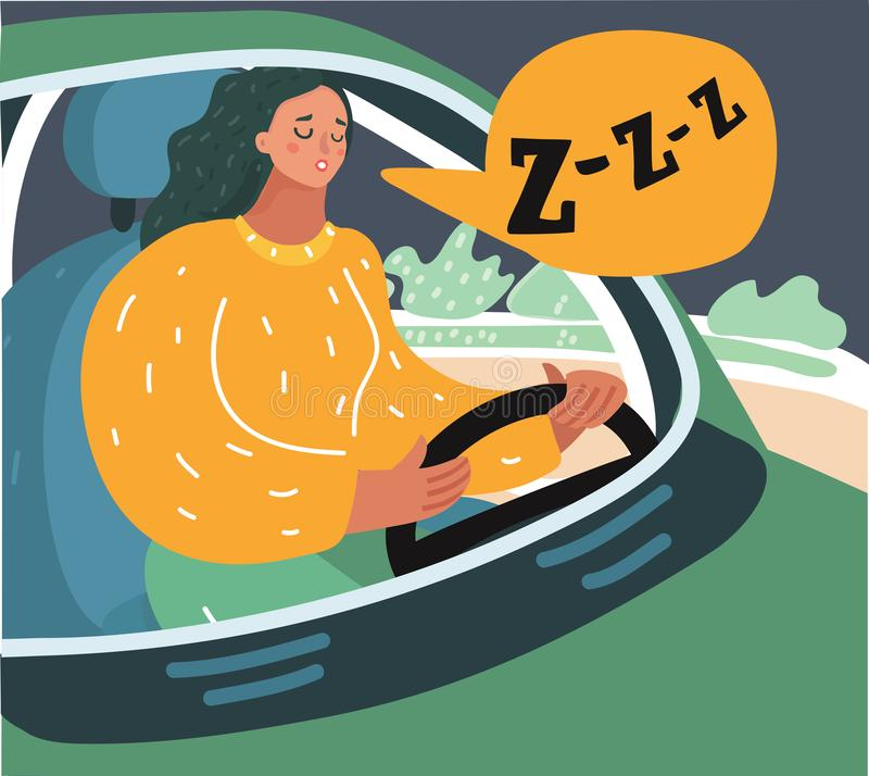 Sömnig trött tröttad ut gäspa utmattad kvinna royaltyfri illustrationer