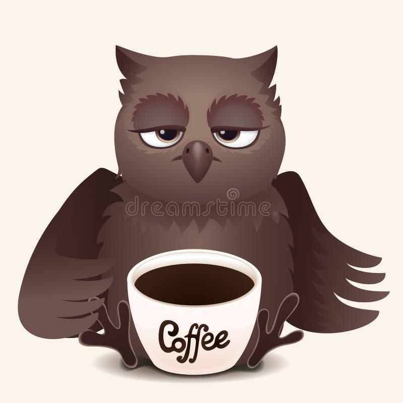 Sömnig uggla för gullig tecknad film med koppen kaffe royaltyfri illustrationer