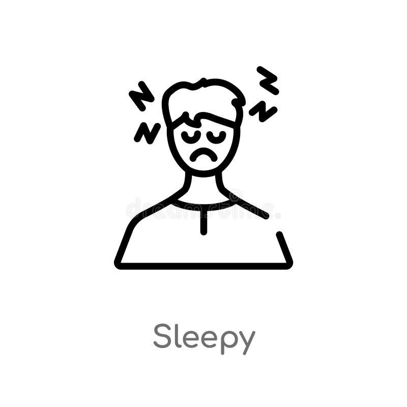 sömnig vektorsymbol för översikt isolerad svart enkel linje beståndsdelillustration från annat begrepp sömnig symbol för redigerb stock illustrationer