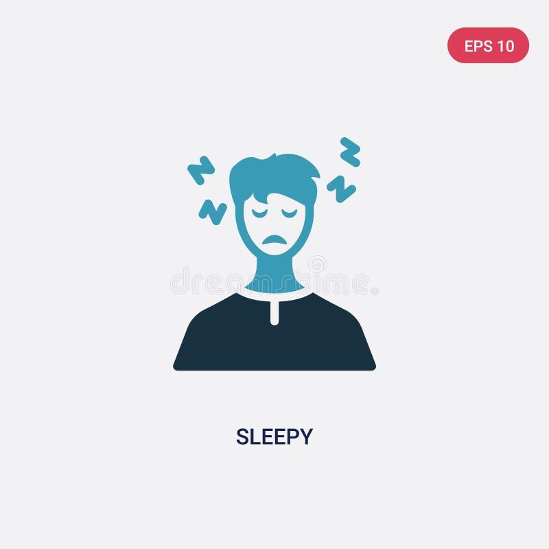 Sömnig vektorsymbol för två färg från annat begrepp det isolerade blåa sömniga vektorteckensymbolet kan vara bruk för rengöringsd royaltyfri illustrationer