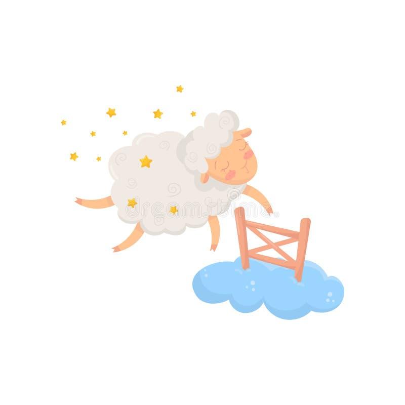 Sömniga får som omges av stjärnor som flyger till och med det lilla trästaketet på molnet Tecknad filmtecken av det gulliga tamdj royaltyfri illustrationer