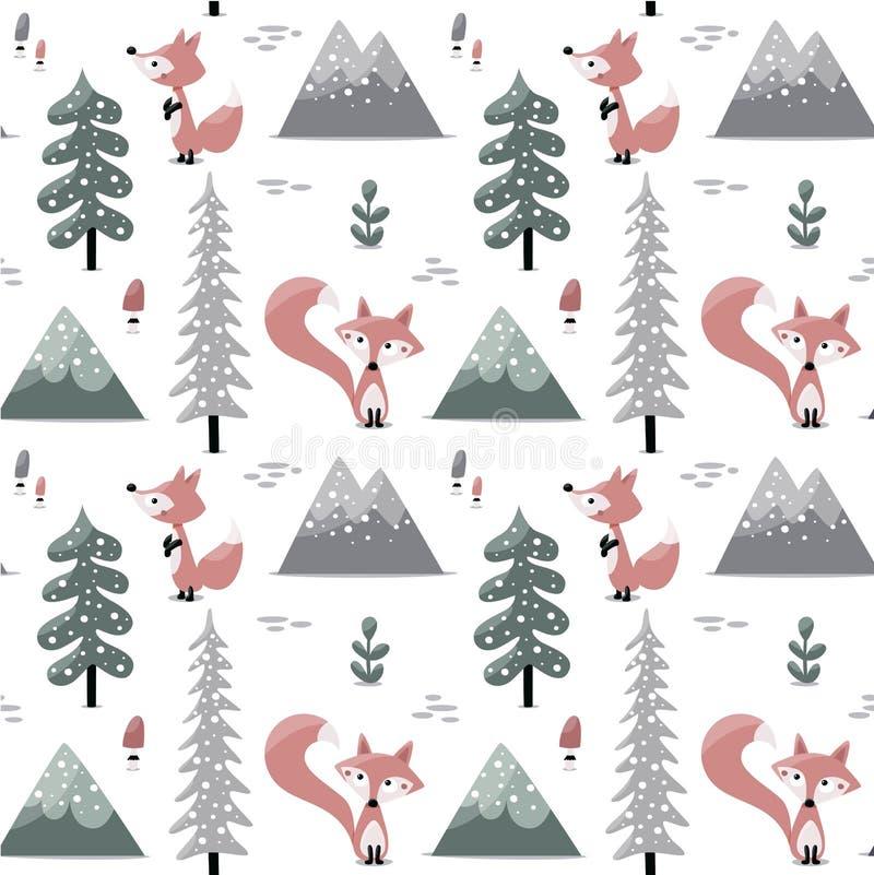 Sömnlösa skandinaviska trädberg royaltyfri illustrationer