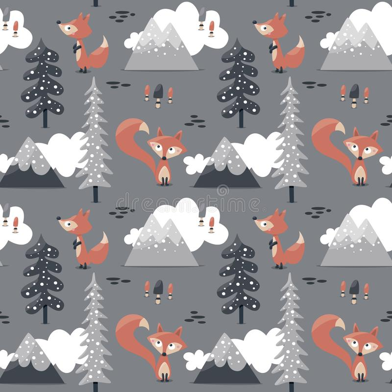 Sömnlösa skandinaviska trädberg stock illustrationer