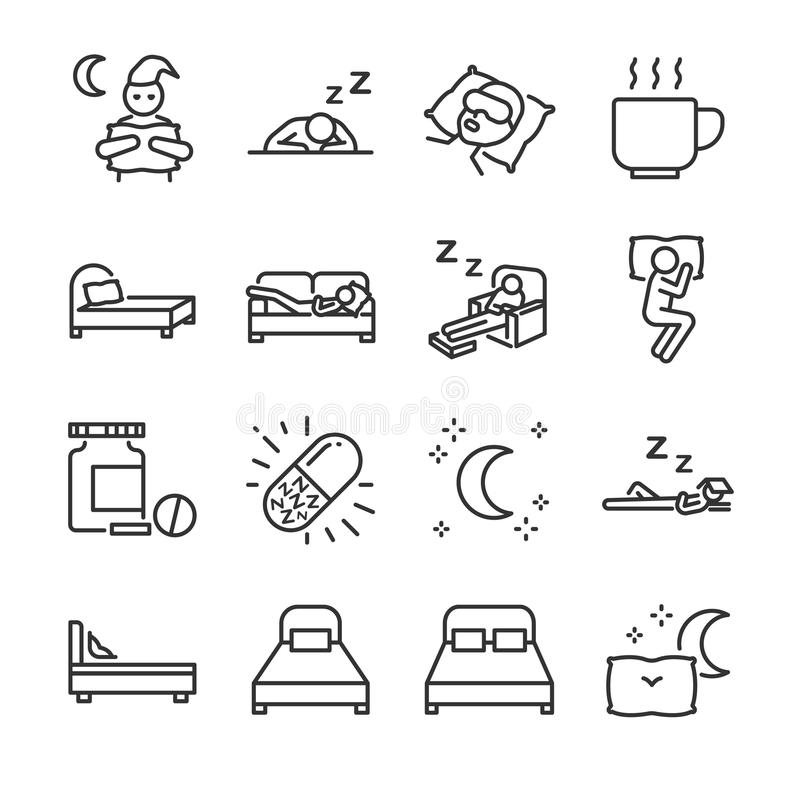 Sömnlinje symbolsuppsättning Inklusive symbolerna, som sömnlöshet som är sömnlösa, säng, läggdags, sleepwalk, natt, sömntablett o vektor illustrationer