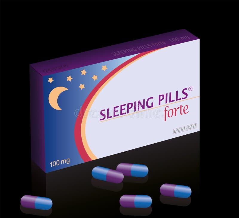 Sömntabletter fejkar preventivpillerasknatt royaltyfri illustrationer