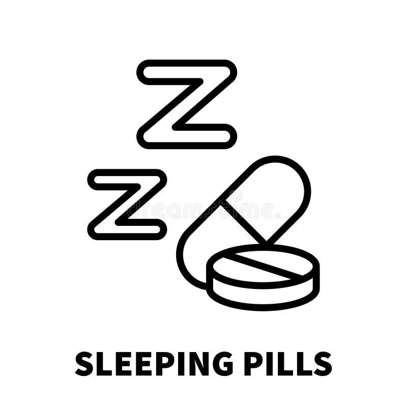 Sömntablettsymbol eller logo i den moderna linjen stil vektor illustrationer