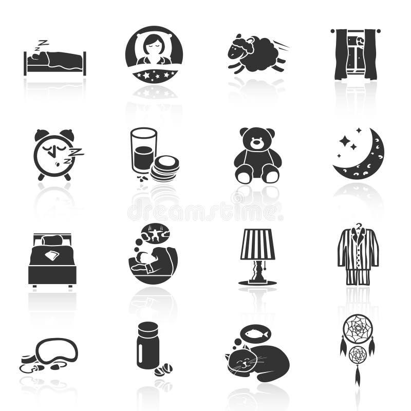 SömnTid symboler royaltyfri illustrationer