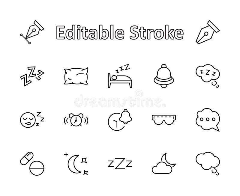 Sömnvektorlinje symbolsuppsättning Innehåller sådana symboler som ringklockan, säng, sömnlöshet, kudden, sömntabletter, Klocka, e vektor illustrationer