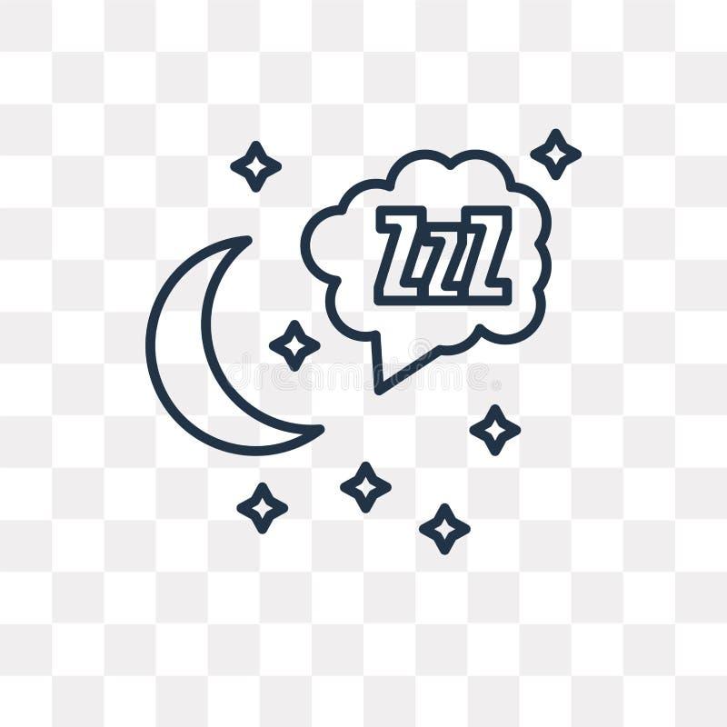 Sömnvektorsymbol som isoleras på genomskinlig bakgrund, linjära Sle vektor illustrationer
