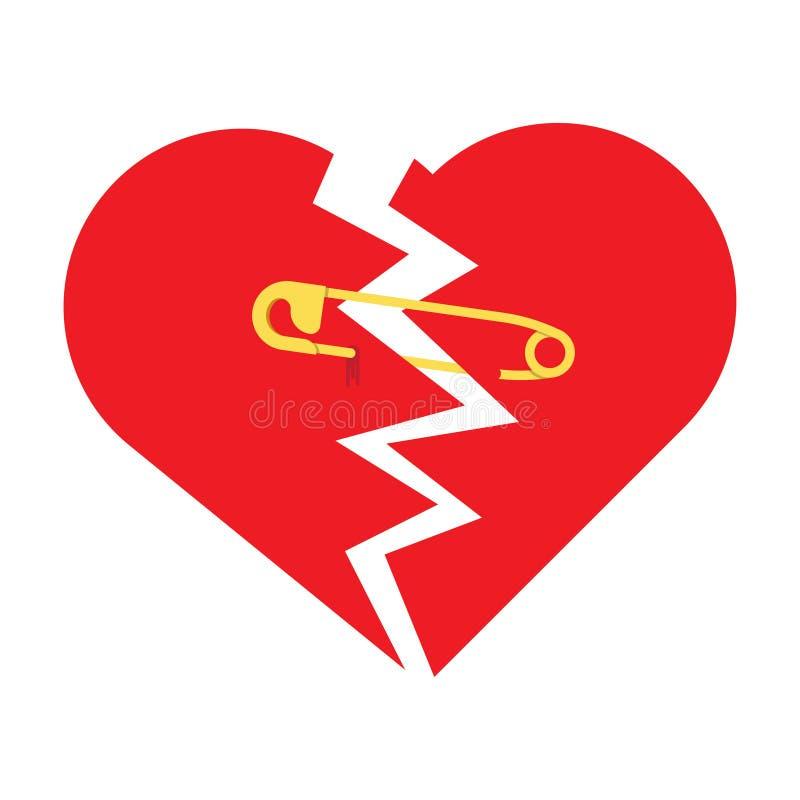 Sönderriven hjärta med säkerhetsnålen stock illustrationer