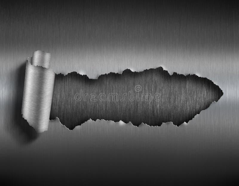 Sönderriven metall med den rev sönder illustrationen för hål 3d royaltyfri foto