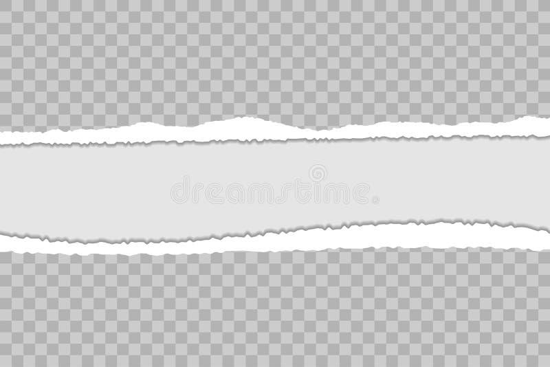 Sönderriven pappers- bakgrund med riven sönder kanter och skugga Genomskinlig mall för baner med utrymme för text vektor stock illustrationer