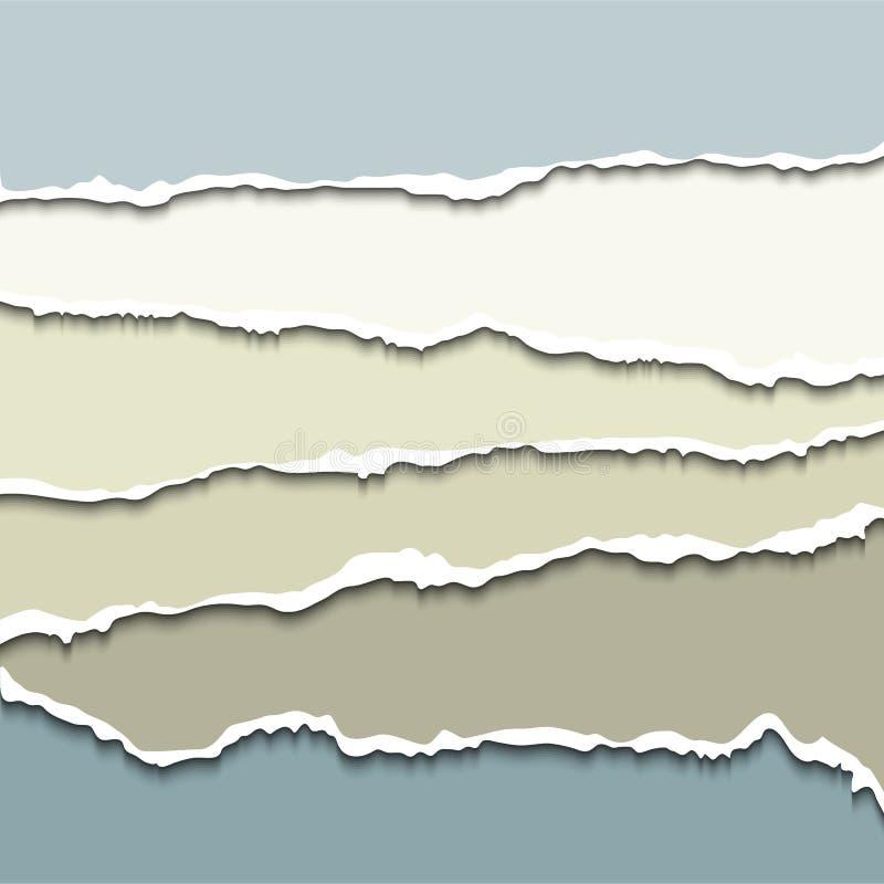 Sönderriven pappersuppsättning för vektor royaltyfri illustrationer